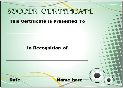 30 Soccer Award Certificate Templates - Free To Download For Soccer Certificate Template Free 21 Ideas
