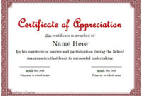 31 Free Certificate Of Appreciation Templates And Letters regarding Fresh Certificate Of Recognition Template Word