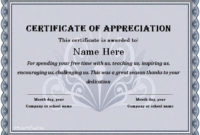 31 Free Certificate Of Appreciation Templates And Letters throughout Unique Certificate Of Appreciation Template Word