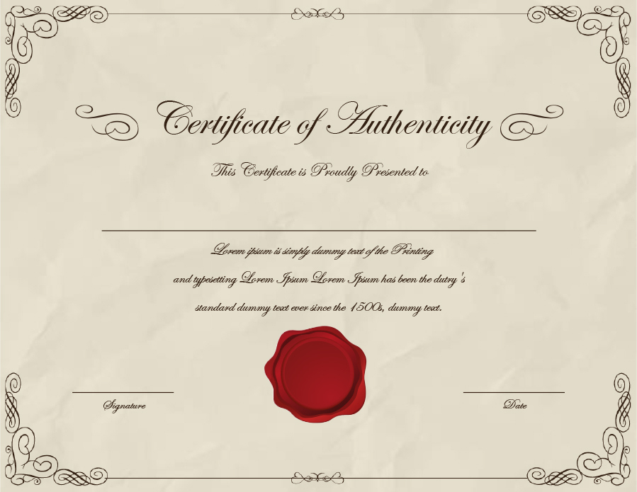 37 Certificate Of Authenticity Templates (Art, Car In Certificate Of Authenticity Templates