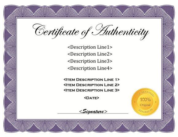 37 Certificate Of Authenticity Templates (Art, Car Inside Unique Certificate Of Authenticity Free Template