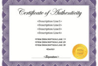 37 Certificate Of Authenticity Templates (Art, Car with regard to Authenticity Certificate Templates Free