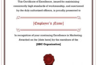 40 Amazing Certificate Of Excellence Templates – Printable with regard to Fresh Outstanding Performance Certificate Template