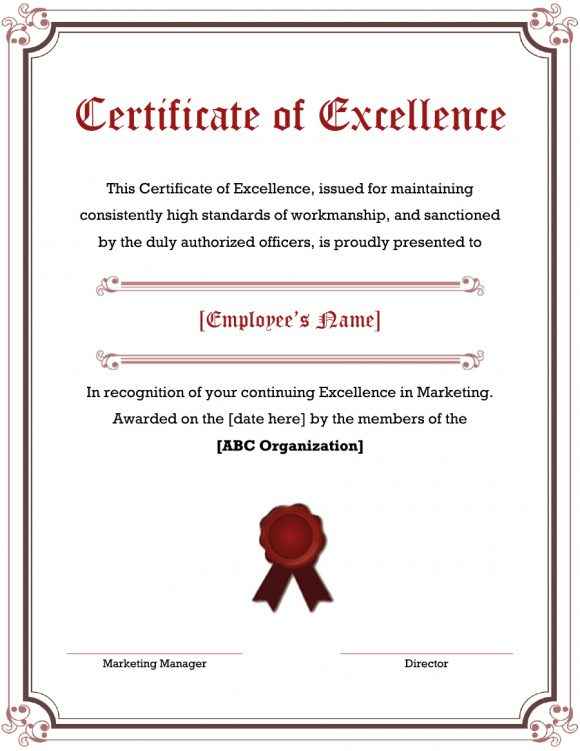 40 Amazing Certificate Of Excellence Templates - Printable With Regard To Fresh Outstanding Performance Certificate Template