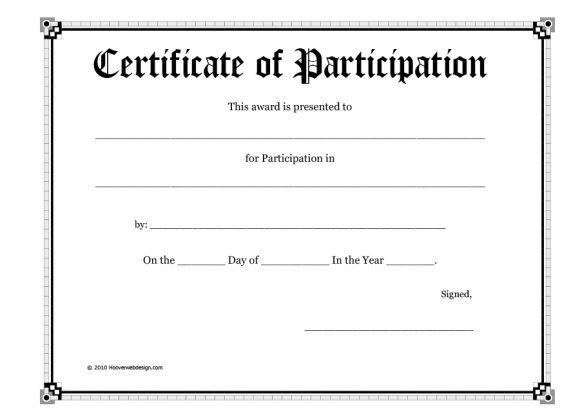 40+ Certificate Of Participation Templates - Printable Templates Throughout Participation Certificate Templates Free Printable
