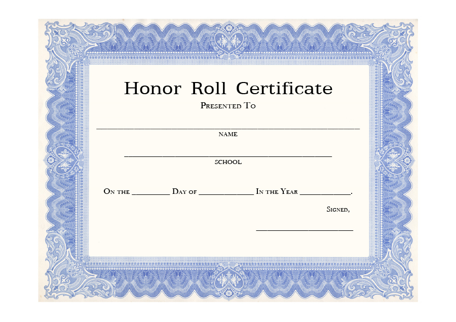 40+ Honor Roll Certificate Templates & Awards - Printable With Regard To Honor Roll Certificate Template Free 7 Ideas