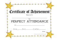 40 Printable Perfect Attendance Award Templates & Ideas for Perfect Attendance Certificate Template Free