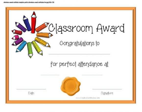 40 Printable Perfect Attendance Award Templates & Ideas Intended For Printable Perfect Attendance Certificate Template