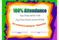 40 Printable Perfect Attendance Award Templates & Ideas with regard to Fresh Perfect Attendance Certificate Template Free
