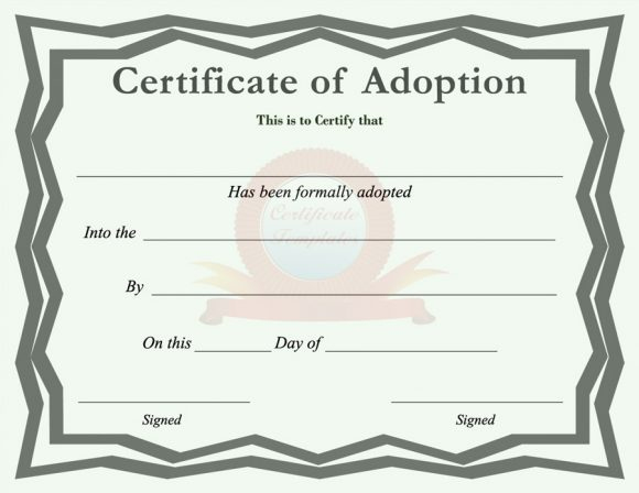 40+ Real & Fake Adoption Certificate Templates - Printable For Pet Birth Certificate Template 24 Choices