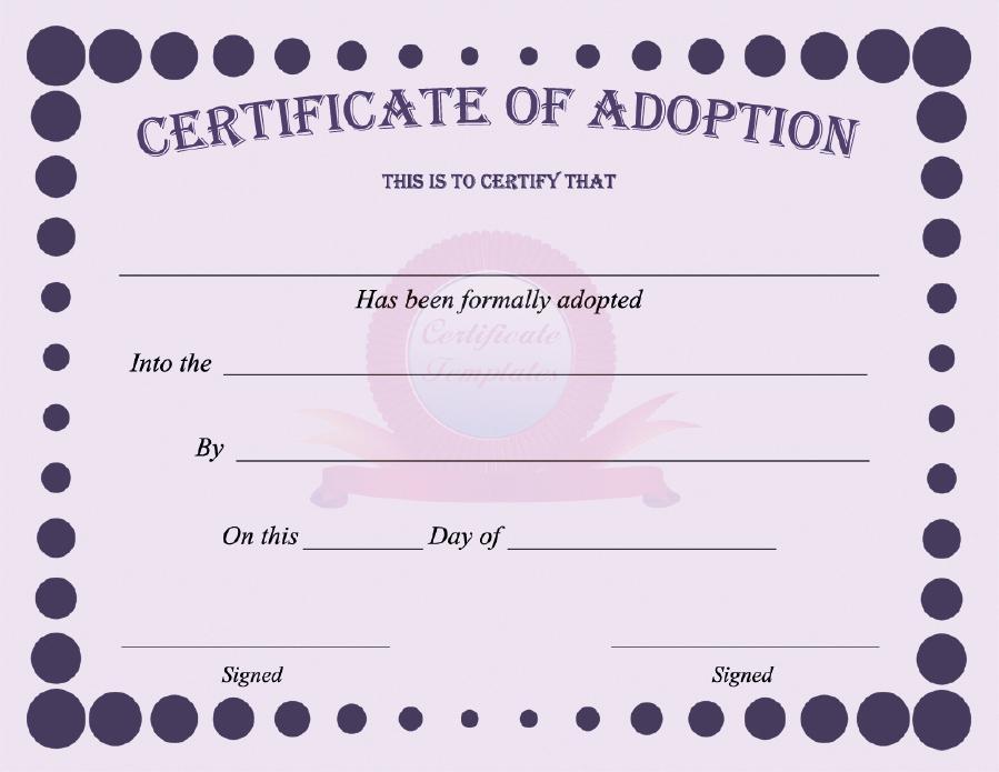40+ Real & Fake Adoption Certificate Templates - Printable In Pet Adoption Certificate Template