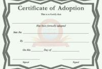 40+ Real & Fake Adoption Certificate Templates – Printable intended for Cat Adoption Certificate Templates