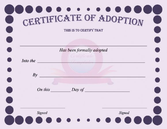 40+ Real & Fake Adoption Certificate Templates - Printable pertaining to Fresh Pet Adoption Certificate Template Free 23 Designs