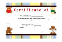40+ Real & Fake Adoption Certificate Templates – Printable pertaining to Pet Birth Certificate Template 24 Choices
