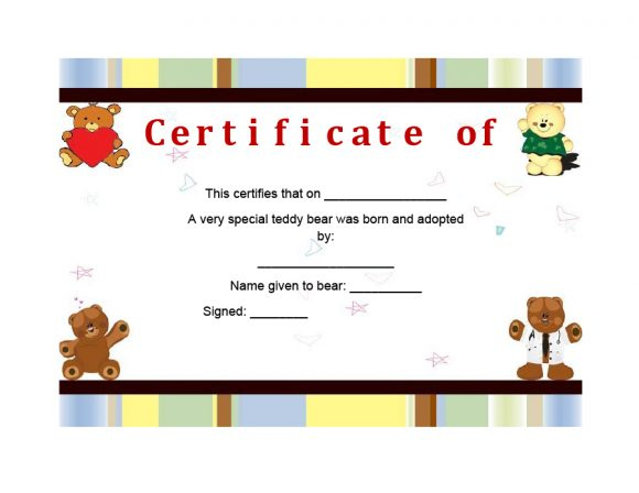 40+ Real & Fake Adoption Certificate Templates - Printable Pertaining To Pet Birth Certificate Template 24 Choices