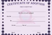 40+ Real & Fake Adoption Certificate Templates – Printable with Dog Adoption Certificate Template