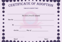 40+ Real & Fake Adoption Certificate Templates - Printable with regard to Pet Birth Certificate Template 24 Choices