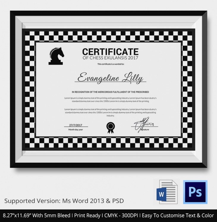 5 Chess Certificates - Psd & Word Designs   Design Trends Intended For Best Chess Tournament Certificate Template Free 8 Ideas