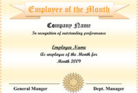5+ Employee Of The Month Certificate Templates – Word, Pdf, Ppt for Unique Employee Of The Month Certificate Template Word