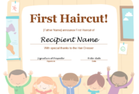 5+ Free Printable First Haircut Certificate Templates – Blue for First Haircut Certificate