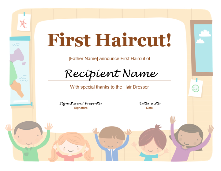 5+ Free Printable First Haircut Certificate Templates - Blue For First Haircut Certificate