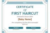 5+ Free Printable First Haircut Certificate Templates – Blue inside Fresh First Haircut Certificate Printable Free 9 Designs