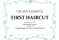 5+ Free Printable First Haircut Certificate Templates – Blue with First Haircut Certificate Printable Free 9 Designs
