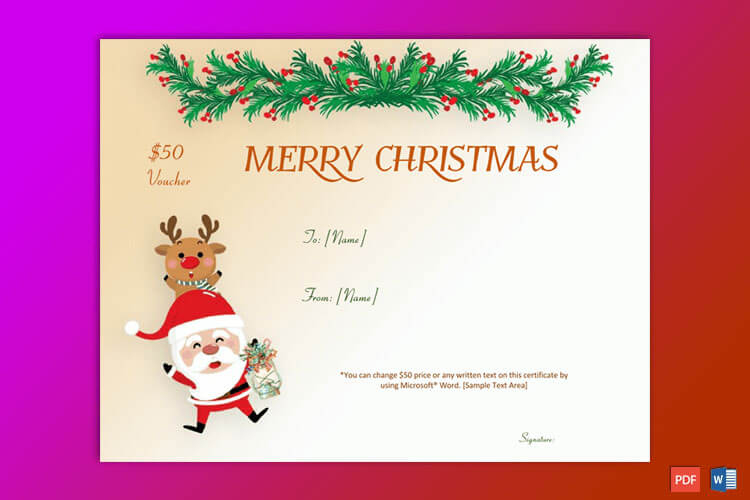 50+ Christmas Gift Certificate Templates For 2019 (Word | Pdf) With Regard To Merry Christmas Gift Certificate Templates