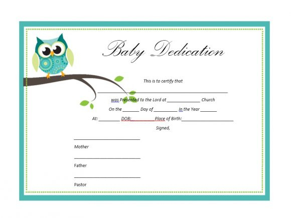 50 Free Baby Dedication Certificate Templates - Printable Pertaining To Certificate For Best Dad 9 Best Template Choices