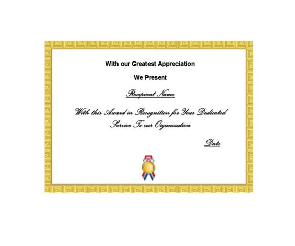 50 Free Certificate Of Recognition Templates - Printable For Years Of Service Certificate Template Free 11 Ideas