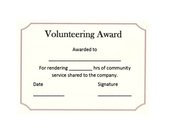 50 Free Volunteering Certificates - Printable Templates Intended For Fresh Community Service Certificate Template Free Ideas