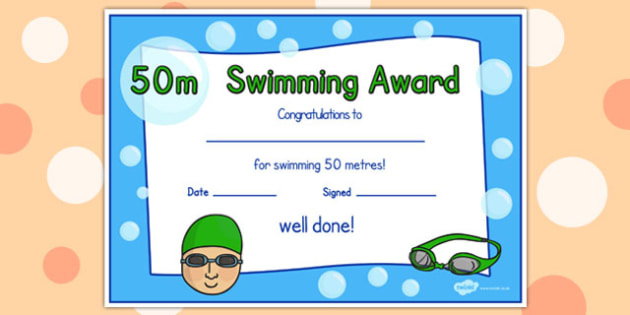 50M Swimming Certificate (Teacher Made) Inside Unique Swimming Certificate Template