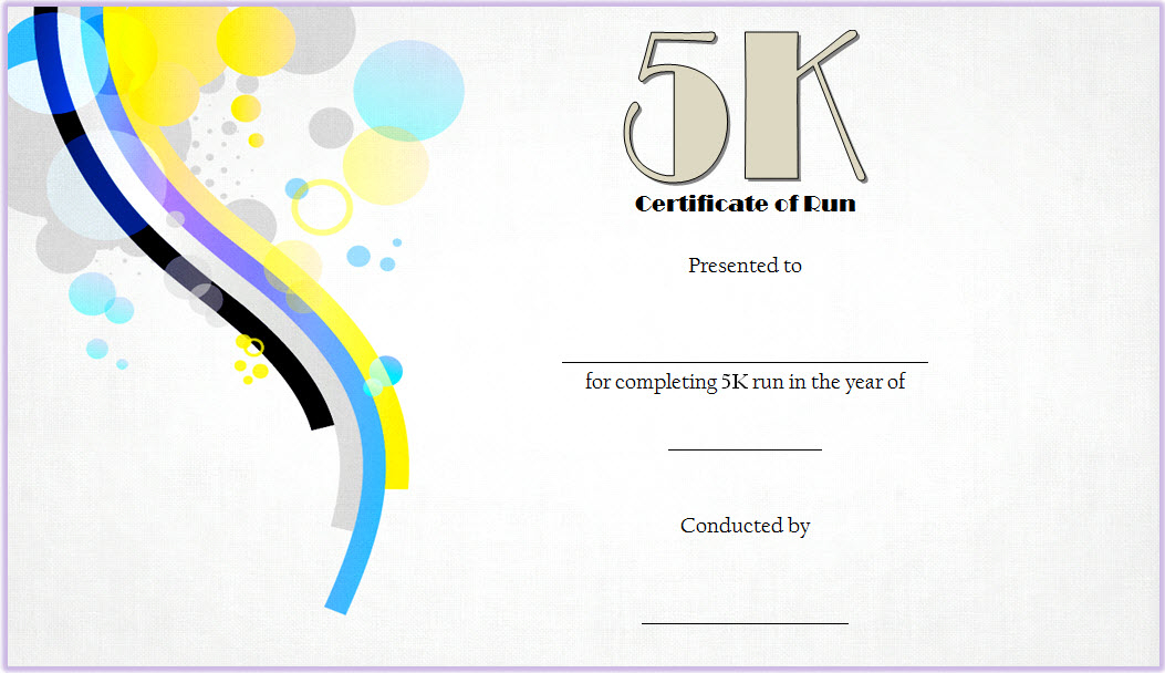 5K Certificate Of Completion Template Free 1 In 2020 For 5K Race Certificate Template
