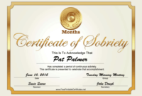 6 Months Sobriety Certificate (Gold) Printable Certificate intended for Fresh Certificate Of Sobriety Template Free