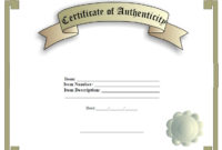7 Free Sample Authenticity Certificate Templates – Printable within Best Authenticity Certificate Templates Free