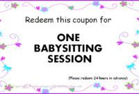 8 Best Printable Babysitting Voucher Template – Printablee in Best Free Printable Babysitting Gift Certificate