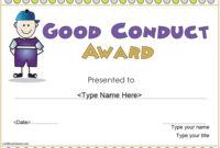 8 Free Sample Good Conduct Certificate Templates – Printable throughout Good Behaviour Certificate Editable Templates