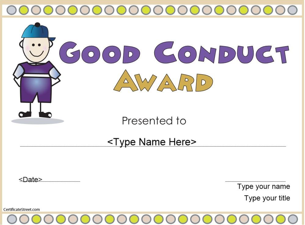 8 Free Sample Good Conduct Certificate Templates - Printable Throughout Good Behaviour Certificate Editable Templates