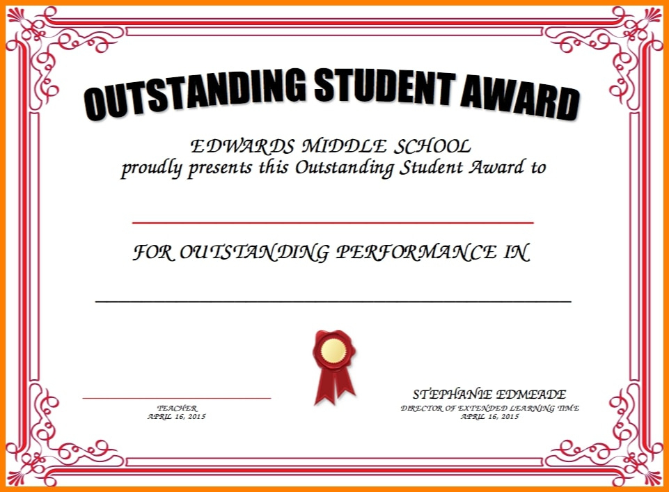 8+ Student Award Certificate Examples - Psd, Ai, Doc Regarding Outstanding Student Leadership Certificate Template Free