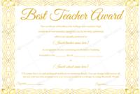 89+ Elegant Award Certificates For Business And School Events regarding Best Teacher Certificate Templates