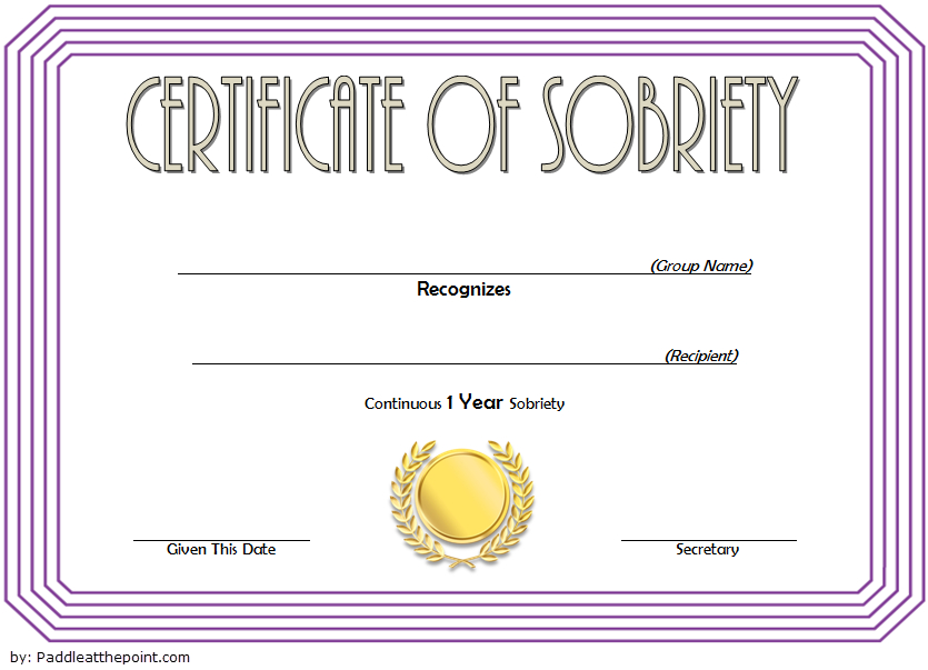9 Sobriety Certificate Template Ideas | Certificate In Sobriety Certificate Template 10 Fresh Ideas Free