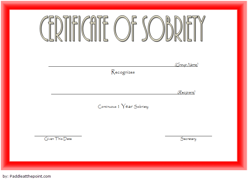 9 Sobriety Certificate Template Ideas | Certificate Intended For Unique Sobriety Certificate Template 10 Fresh Ideas Free