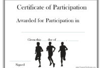 A Certificate Of Participation For Participating In A Race with regard to Running Certificate Templates 10 Fun Sports Designs