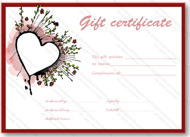 Abstract Heart Gift Certificate Template - Certificate Templates Pertaining To Best Valentine Gift Certificate Template