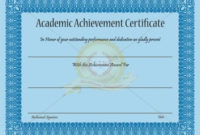 Academic Achievement Certificate Template – Certificate inside Academic Achievement Certificate Template