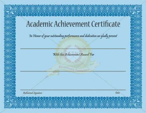 Academic Achievement Certificate Template - Certificate Inside Academic Achievement Certificate Template