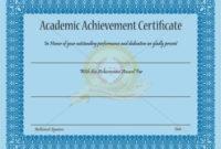 Academic Achievement Certificate Template – Certificate throughout Fresh Academic Achievement Certificate Templates