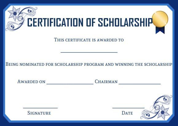 Academic Scholarship Certificate Template | Certificate Regarding Fresh 10 Scholarship Award Certificate Editable Templates