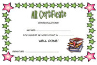 Accelerated Reader Award Certificate Template Free inside Best Star Reader Certificate Template