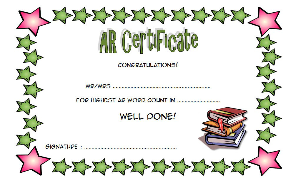 Accelerated Reader Award Certificate Template Free throughout Best Accelerated Reader Certificate Template Free